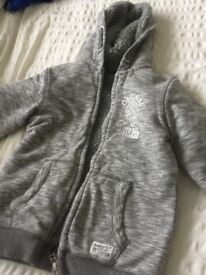 Lovely snug grey marl fleece cardigan / jacket age 7-8 - see other items