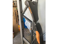 High quality York weights bench, chest and shoulder press, with weights and bar