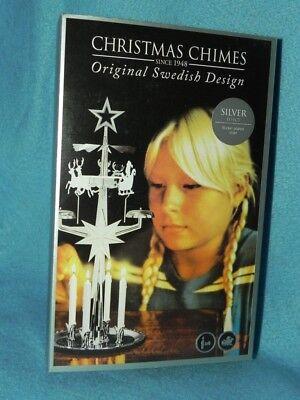 Santa Christmas (Angel) Chimes, Nickel, Original Swedish Design, 4 Candles, NEW