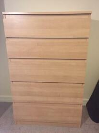 Ikea Malm - Chest of 5 Drawers