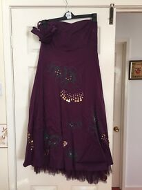 South Strapless Purple lined Dress