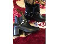 Black leather biker boots Size 6