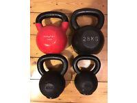 4 Kettlebells for sale individually or as a set (12kg, 16kg, 24kg, 28kg)