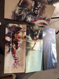 Super hero canvases x4 great for young ones