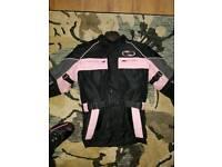 girls motorbike jacket size xl trousers size medium
