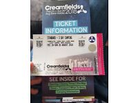 3 day creamfield ticket+camping