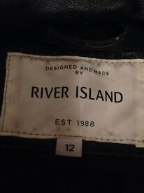 Leather river island coat, size 12 excellent condition hardly worn as to tight good as new