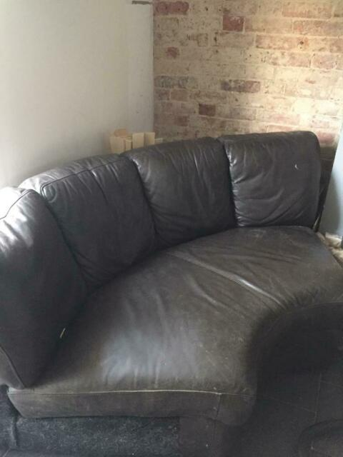 Terrific Small Curved Brown Leather Sofa In Willesborough Kent Ibusinesslaw Wood Chair Design Ideas Ibusinesslaworg