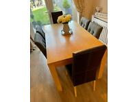 Light Oak Dining Table & Chairs