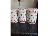 Emma Bridgewater trio of canisters in Pink hearts