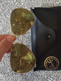 Ray ban green reflective aviator sunglasses