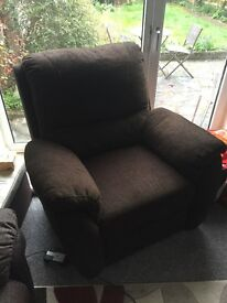Reclining electric sofa chair brown