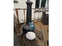 Chiminea with pizza and popcorn maker