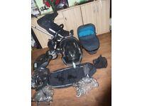 Quinny Buzz pram full travel system + Maxi Cosi car seat and base