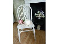 Shabby Chic White Wooden Wheel Back Chair