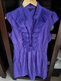 Ted baker size 12 lined ruffle front silk dress