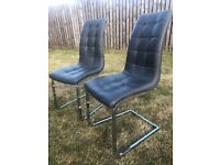 2x grey leather chair chrome legs