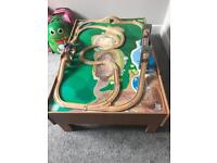 Children's train table, trains and track