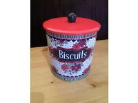 Biscuit Tin red purple green