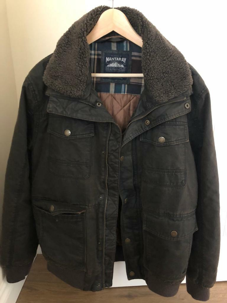 Mantaray Waxed Cotton Flight Jacket Large In Stirling