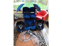 Bugaboo Donkey v1.0 Twin Royal Blue Pushchairs Double Seat Stroller plus lots of extras