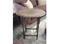 Lovely old oak side table with barley twist legs