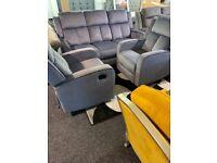 New grey velvet recliner 3/1/1 suite