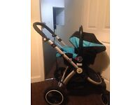 I safe 3 in 1 pram, comes with footmuff for car seat and pram,you can pump the tyres up,very light x