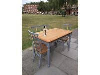 Kitchen farmhouse dining table & 4 Ercol chairs. Seats 4/6. Shabby chic retro.Local delivery