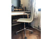 Cream leather and oak gas lift desk chair