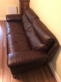 Leather Sofa + Armchair