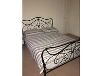 Black Metal Double bed with Matress