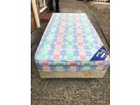 SINGLE DIVAN BED WITH MATTRESS. CAN DELIVER.