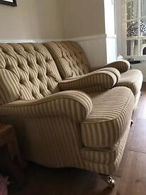 Five piece suite, sofa, 2 armchairs, storage ottoman, footstool. Gold pattern, classic style.