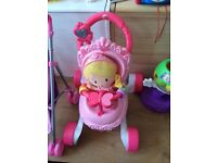 Baby walker with princess doll