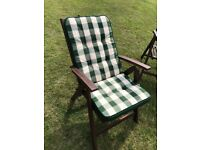 Garden Chairs, Oak complete with cushions 6 in total. Good condition. Buyer collects.