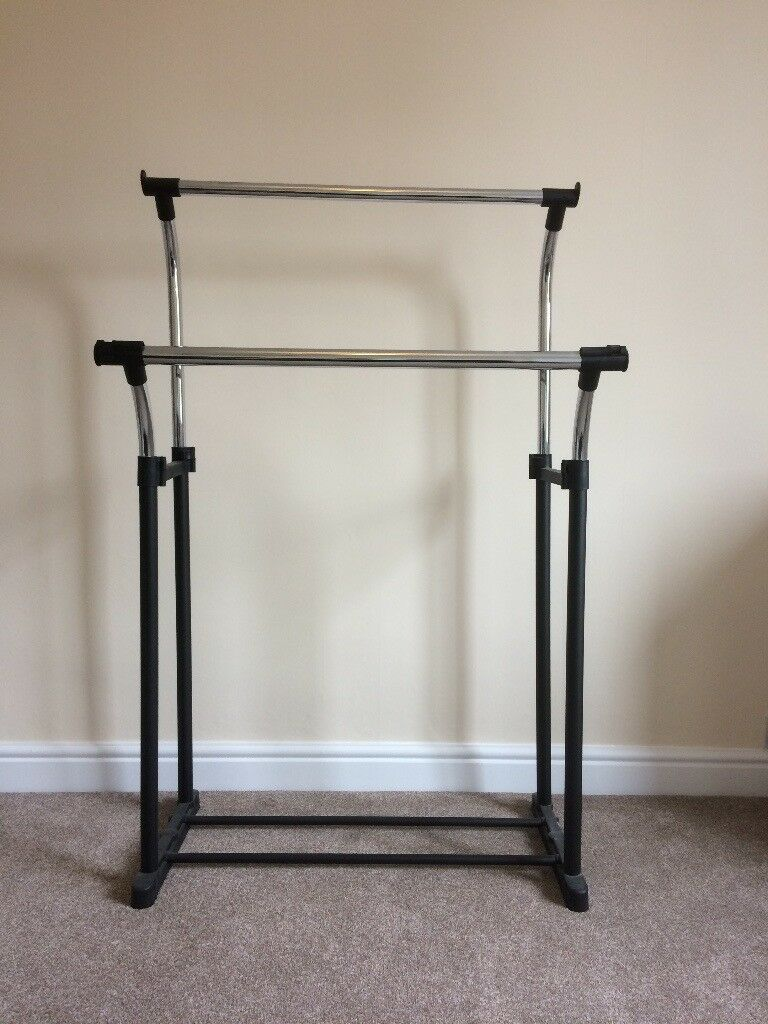 Double clothes rail - height adjustable heavy duty
