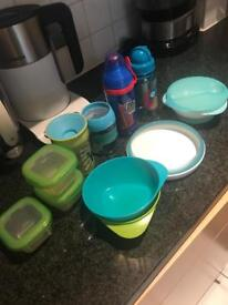 Baby weaning bow drinking cups bib tommee tippee