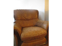 FREE LEATHER 3 SEATER SOFA AND ARMCHAIR