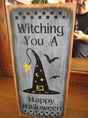 HAPPY HALLOWEEN primitive wood sign Halloween