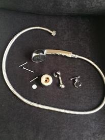 Chrome Shower head and hose with fittings