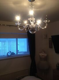 Lovely 5 Arm Glass Chandelier