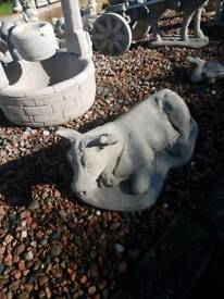 Concrete Cow Garden Ornament