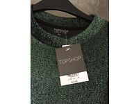 Cropped sparkle top / t shirt, Topshop, size 8