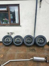 5x114.3 honda civic team dynamics lightweight alloy wheels with new tyres