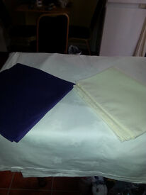 All sizes of ivory table cloth + napkin for sell other colours available call for detail