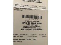 Rag n Bone Man 4 tickets 14/08/18 £140 Princes St Gardens