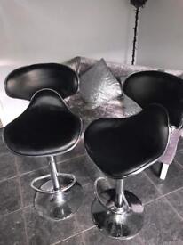 Black leather bar stools x2