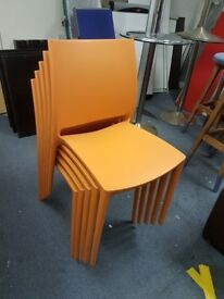 Orange plastic canteen chairs good quality / cafe chairs / stacking chairs
