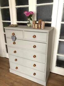 Pine chest of drawers Free Delivery Ldn🇬🇧Shabby chic Tallboy grey